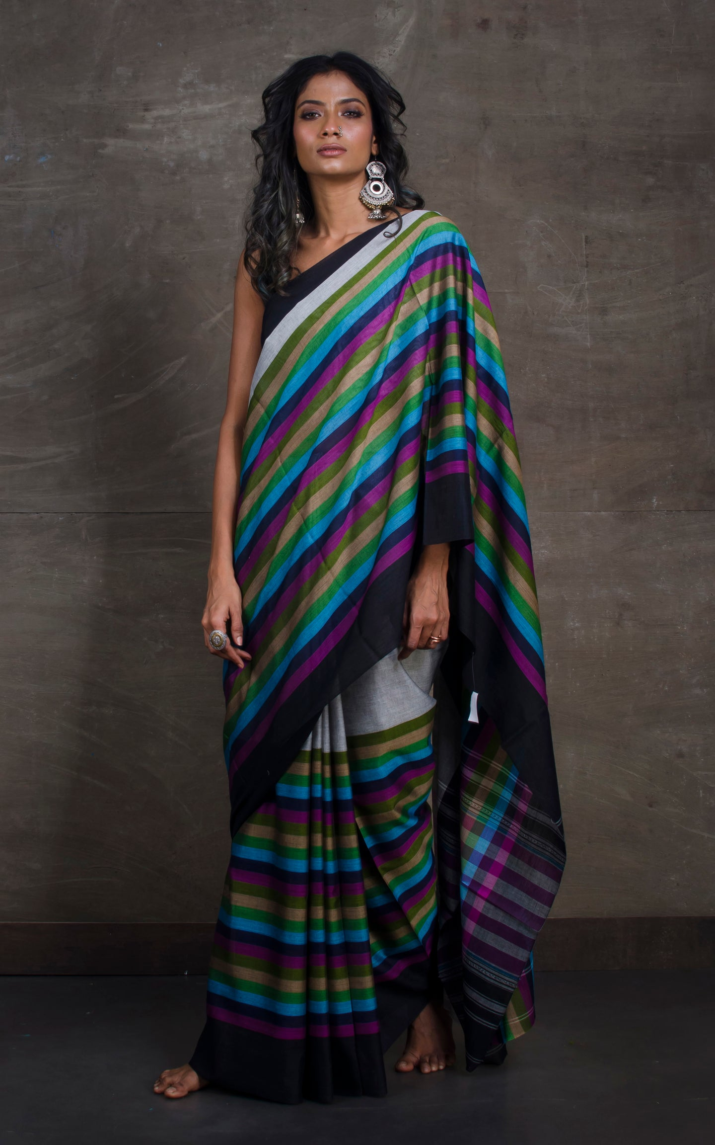 Bengal Handloom Designer Cotton Saree in Light Grey, Black and Multicolored