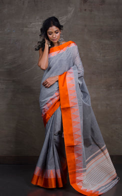 Bengal Handloom Cotton Saree in Grey and Orange