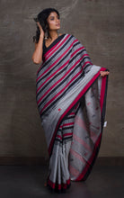 Bengal Handloom Cotton Saree in Grey, Black and Dark Red