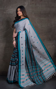 Bengal Handloom Cotton Saree in Grey, Black and Teal