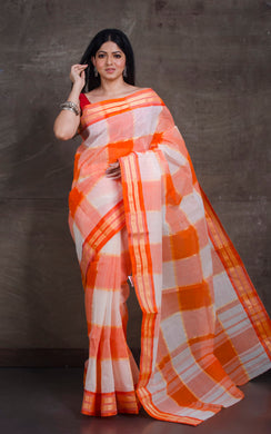 Bengal Handloom Cotton Saree in Orange and Off White