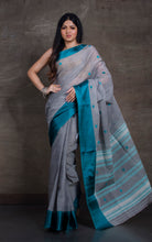 Bengal Handloom Cotton Saree in Steel Grey and Peacock Blue