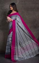 Bengal Handloom Designer Cotton Saree in Light Grey, Black and Magenta