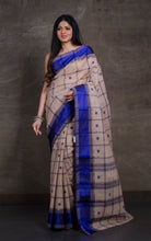 Bengal Handloom Cotton Saree in Mud Grey and Dark Blue