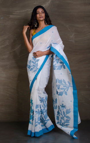 Hand Woven Cotton Dhakai Jamdani Saree in White and Blue from Bengal Looms India