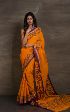 Hand Woven Cotton Dhakai Jamdani Saree in Apricot Orange, Navy Blue and Purple from Bengal Looms India