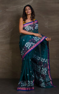 Hand Woven Cotton Dhakai Jamdani Saree in Peacock Green, White and Purple from Bengal Looms India