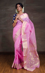 Bengal Handloom Cotton Saree in Pink and Gold