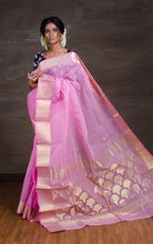 Bengal Handloom Cotton Saree in Pink and Gold from Bengal Looms India