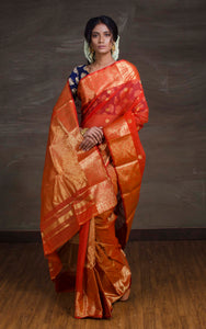 Bengal Handloom Tanchui Work  Patli Pallu Saree in Rust and Gold - Bengal Looms India
