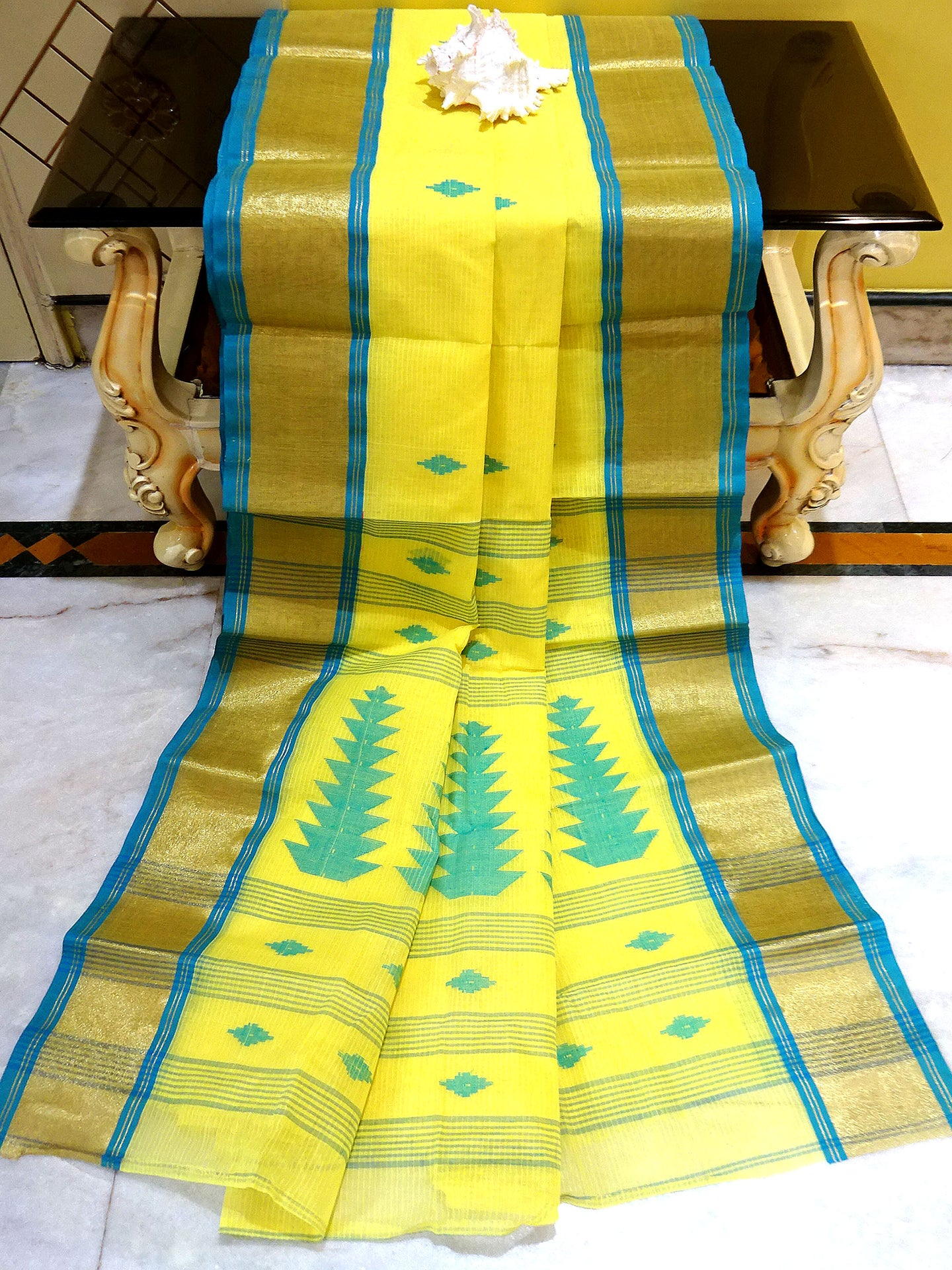 Bengal Handloom Cotton Saree in Lemon Yellow, Blue and Gold