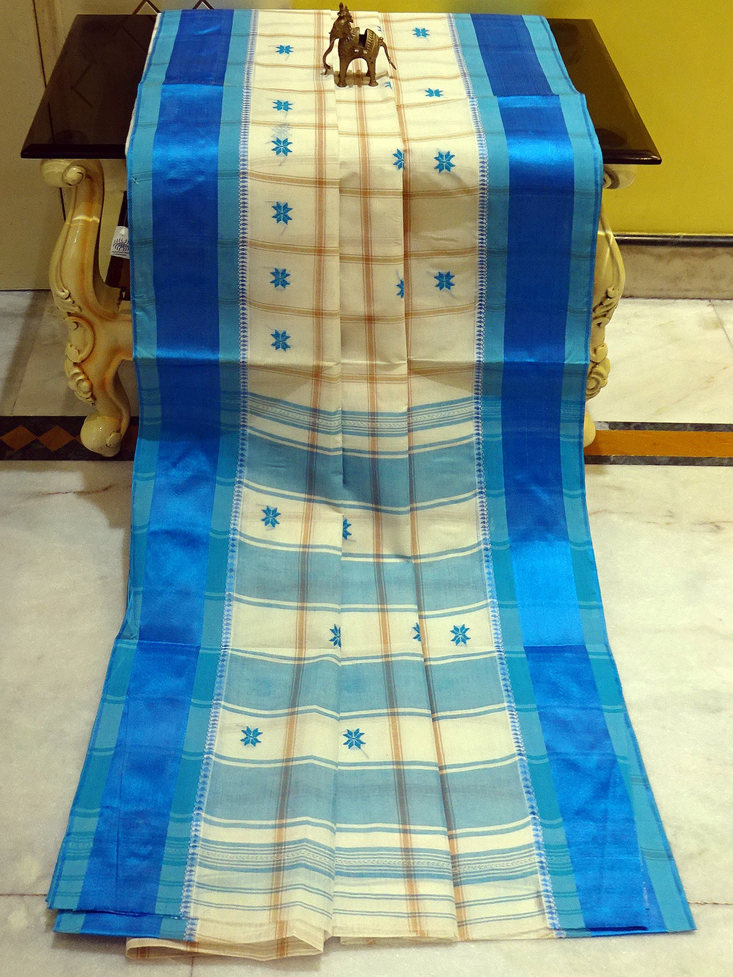 Bengal Handloom Cotton Saree in Off White, Beige and Azure Blue