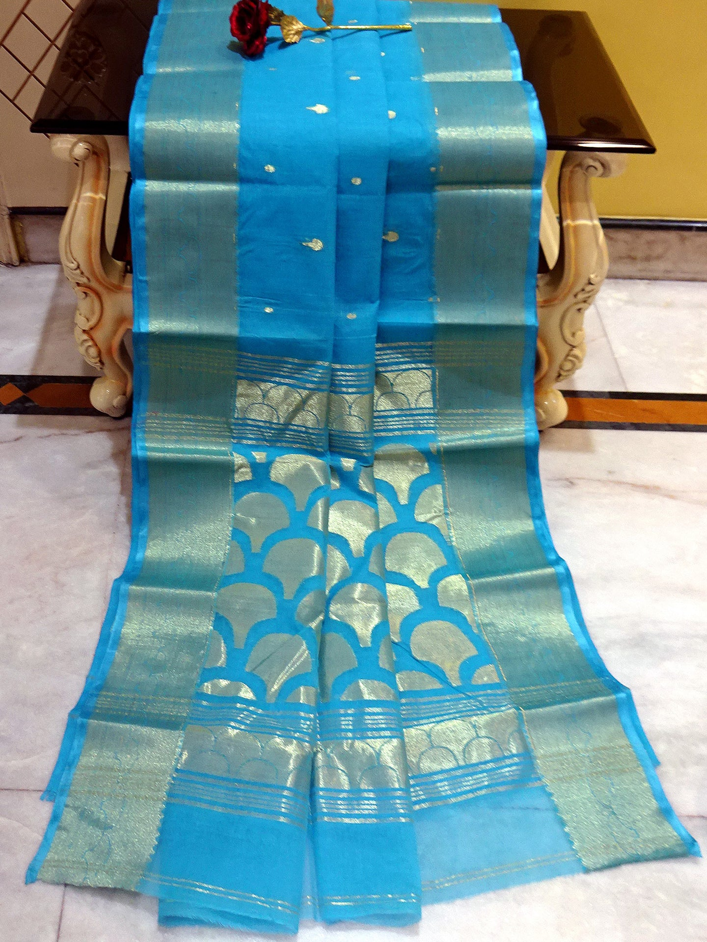 Rich Pallu Bengal Handloom Cotton Saree in Azure Blue