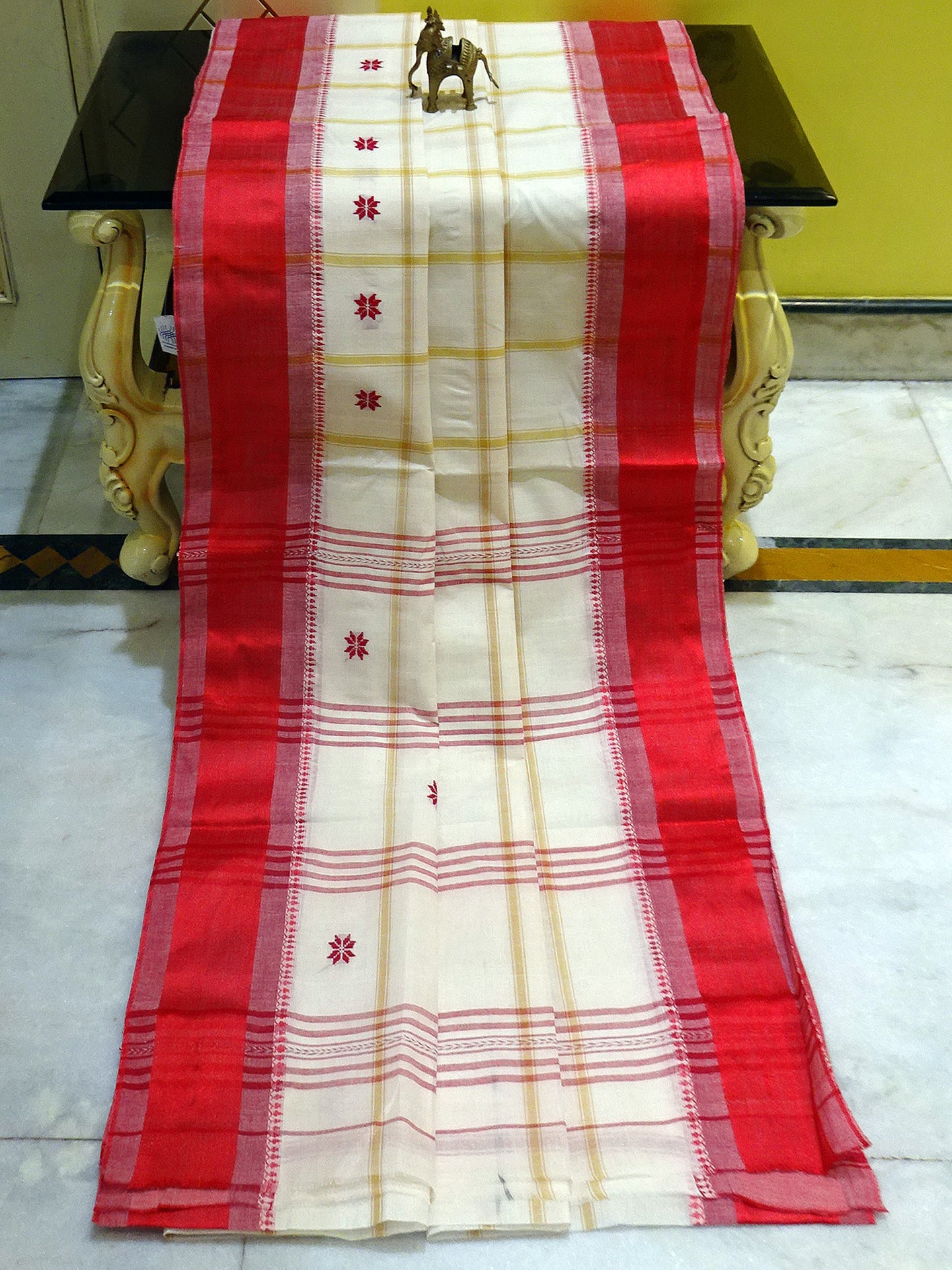 Bengal Handloom Ganga Jamuna Border Cotton Hazar Buti Saree in Peacock Blue Colour from Bengal Looms India