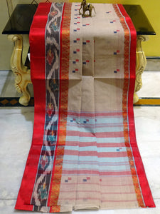 Bengal Handloom Cotton Kotki Border Saree in Beige and Red
