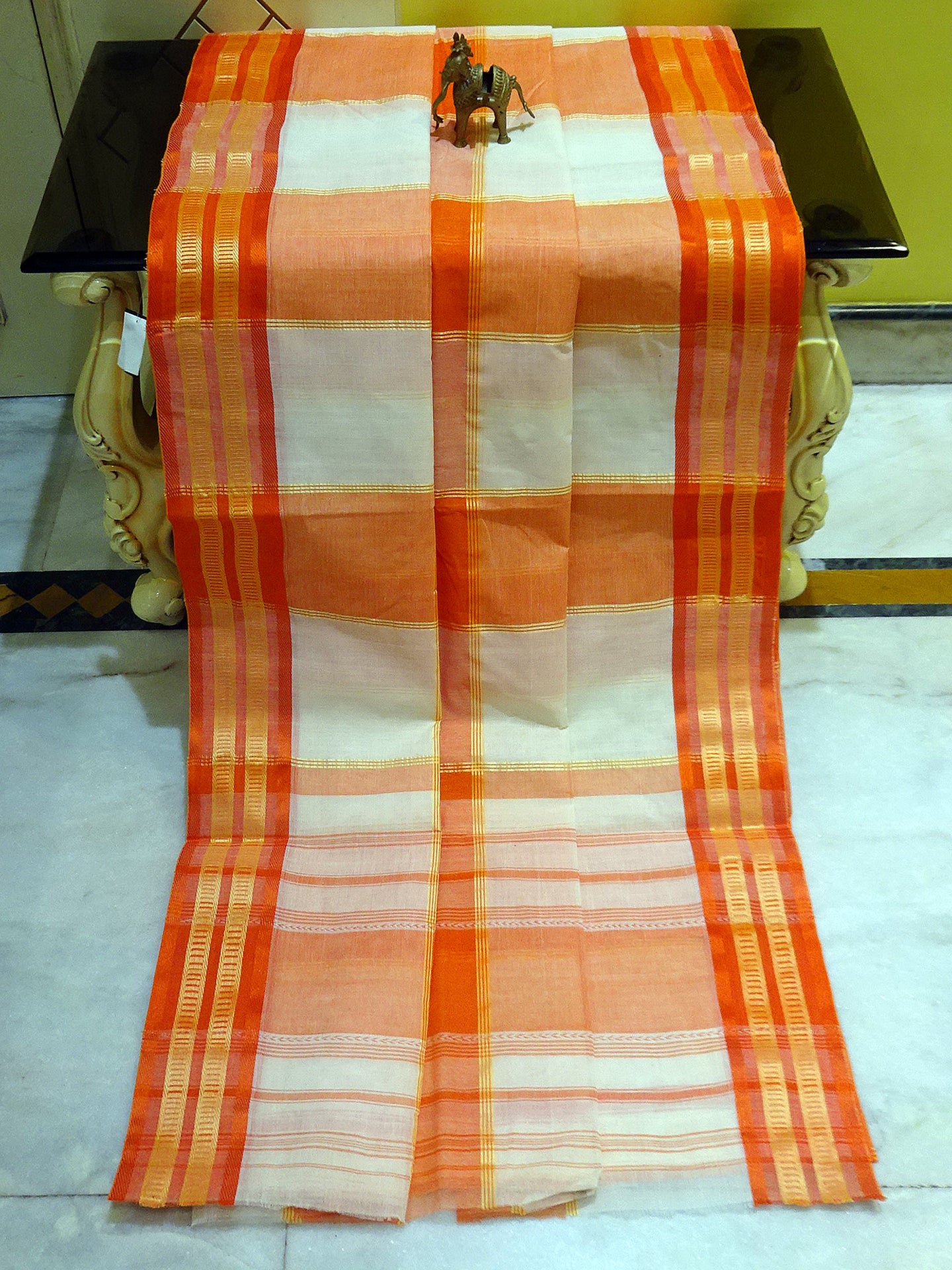 Bengal Handloom Ganga Jamuna Border Cotton Hazar Buti Saree in Vivid Cerulean Blue from Bengal Looms India