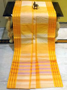 Bengal Handloom Cotton Hazar Buti Saree in Beige and Orange
