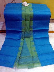 Mahapar Bengal Handloom Cotton Saree in Olive Green and Azure Blue