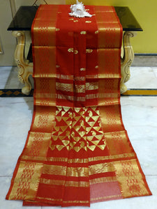 Rich Pallu Bengal Handloom Cotton Saree in Rust and Gold