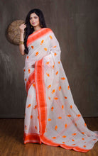 Bengal Handloom Cotton Saree with Embroidery Work in Off white and Orange