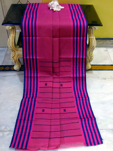 Premium Quality Bengal Handloom Cotton Saree in Fandango Pink and Navy Blue