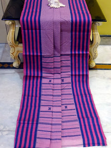 Premium Quality Bengal Handloom Cotton Saree in Ultra Pink and Dark Blue