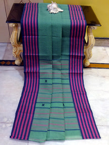 Premium Quality Bengal Handloom Cotton Saree in Light Teal Green, Purple and Dark Blue