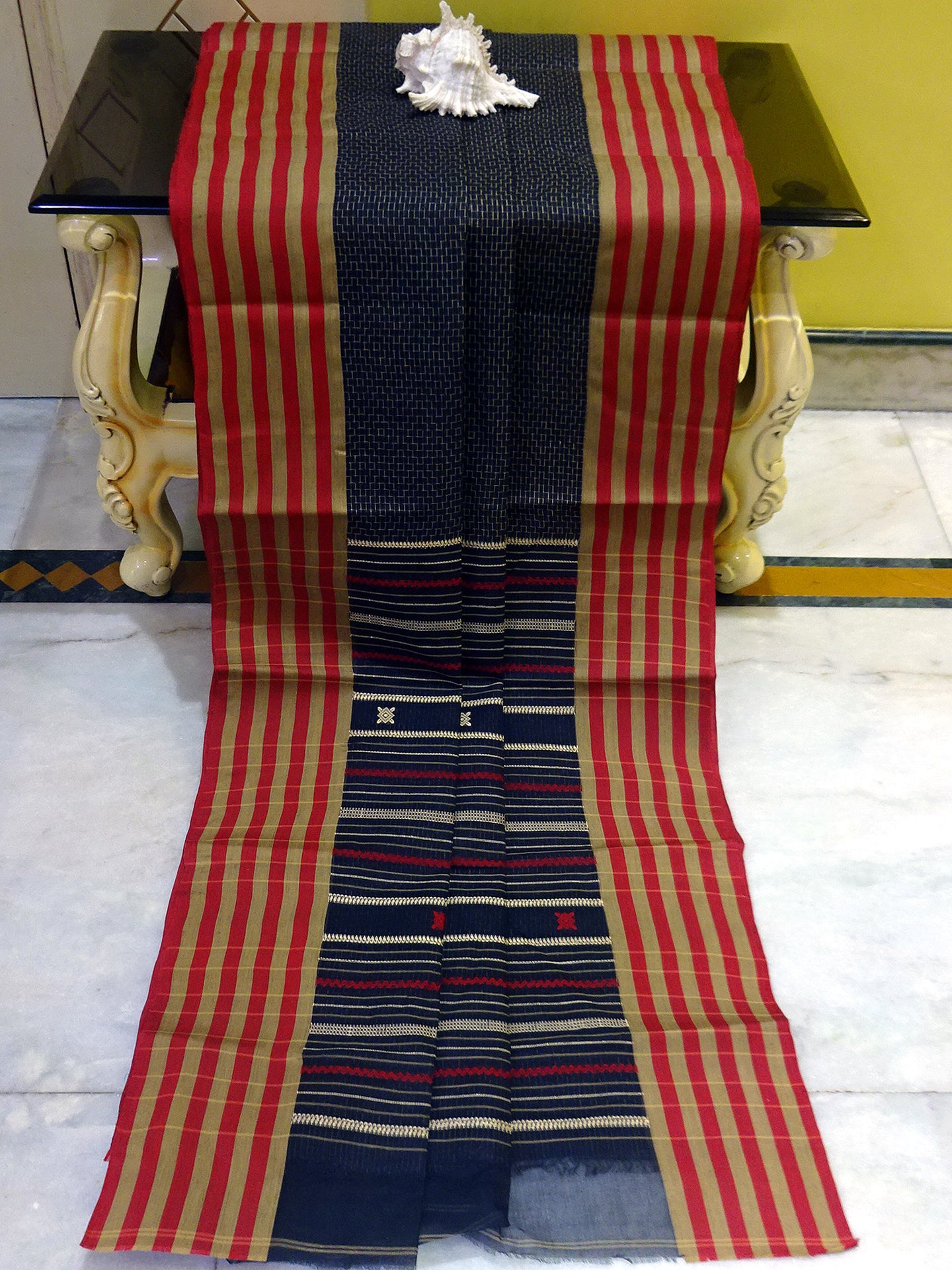 Premium Quality Bengal Handloom Cotton Saree in Black, Beige and Red