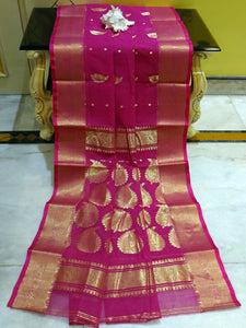 Bengal Handloom Cotton Saree in Hot Pink and Gold