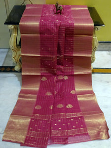 Gold Micro Check Work Bengal Handloom Cotton Saree in Thulian Pink
