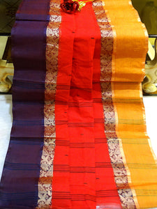 Bengal Handloom Cotton Saree in Tomato Red