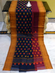 Bengal Handloom Cotton Dhakai Work Saree in Midnight Blue, Maroon and Canary Yellow