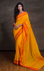 Bengal Handloom Cotton Saree in Amber Yellow and Red