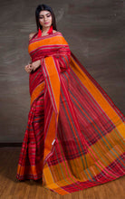 Bengal Handloom Cotton Saree in Red and Sunset Orange