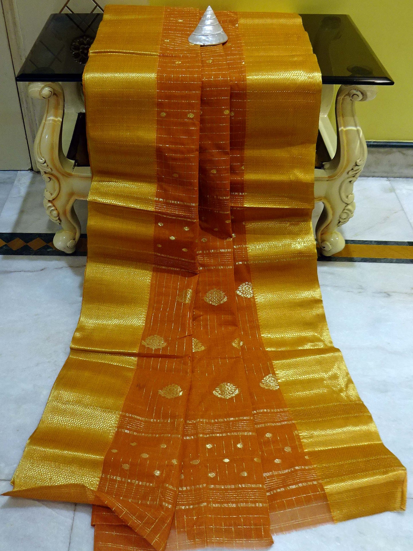 Gold Micro Check Work Bengal Handloom Cotton Saree in Mustard Brown