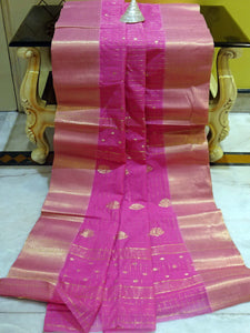 Gold Micro Check Work Bengal Handloom Cotton Saree in Pink