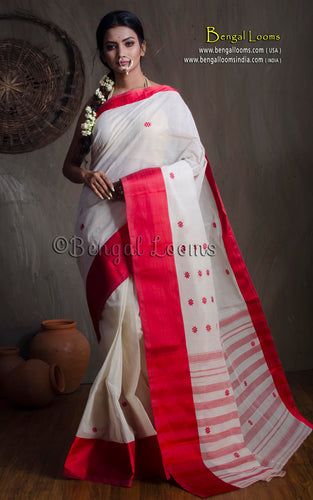 Bengal Handloom Cotton Saree in White and Red