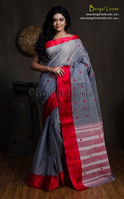Bengal Handloom Cotton Saree in Metallic Grey and Dark Red