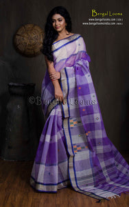 Bengal Handloom Cotton Saree in Violet, Off White and Blue