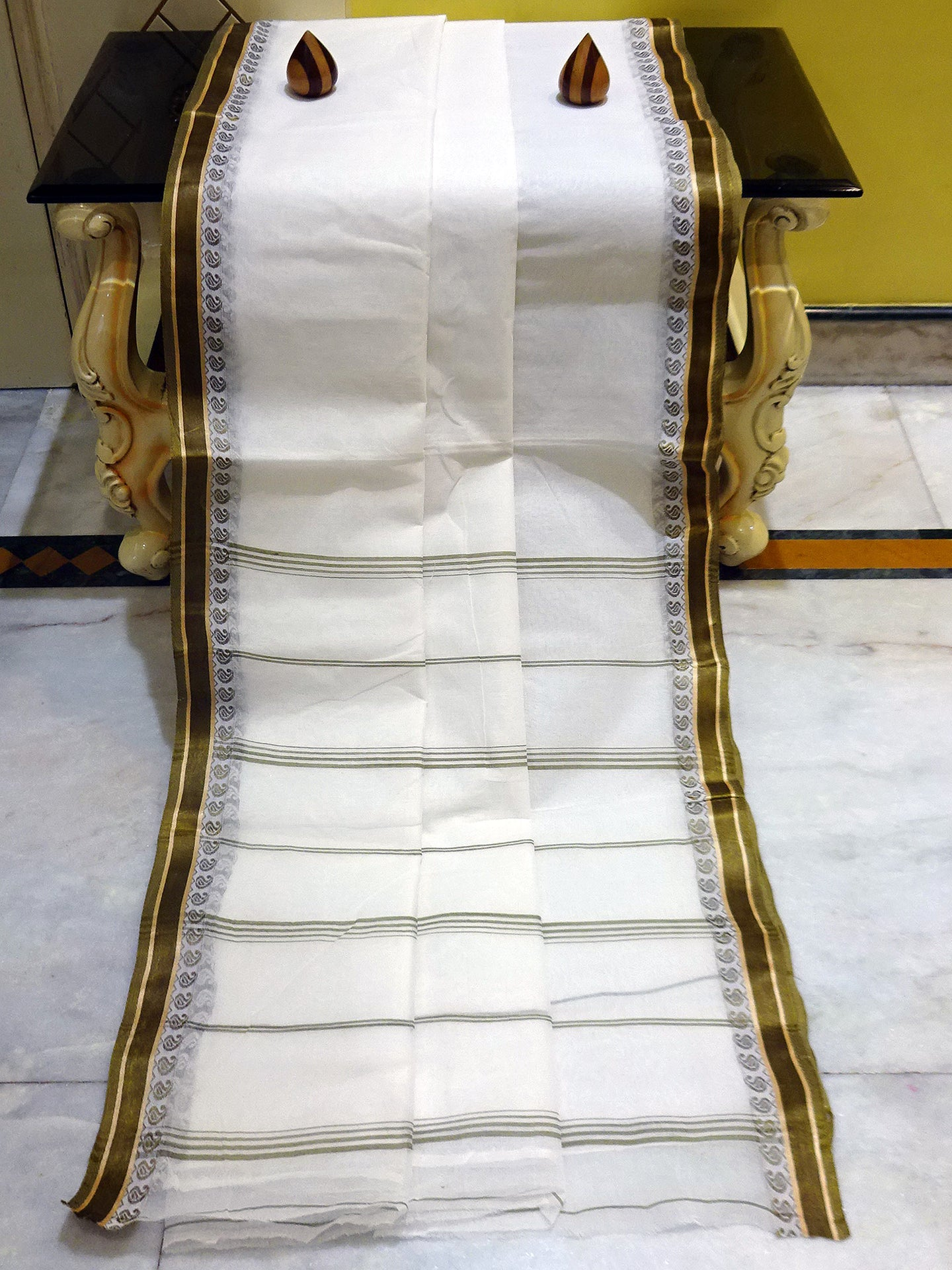 Bengal Handloom Cotton Saree in White, Army Green and Gold