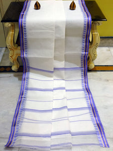 Bengal Handloom Cotton Saree in White, Purple and Gold