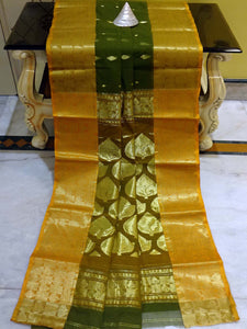 Bengal Handloom Cotton Saree in Seaweed Green and Golden Yellow