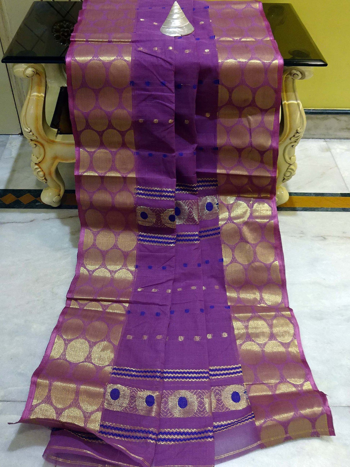 Bengal Handloom Cotton Saree in Purple, Royal Blue and Gold