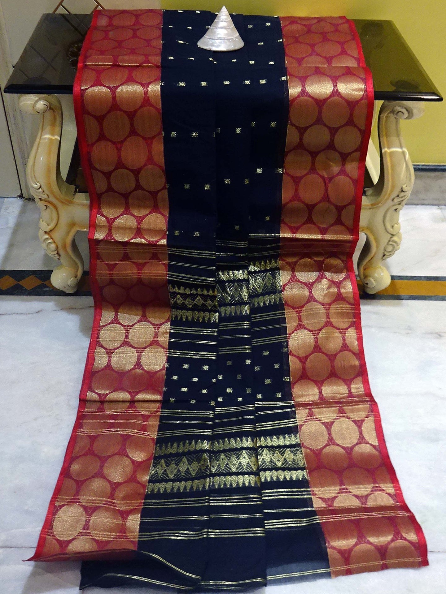 Bengal Handloom Cotton Saree in Black, Dark Red and Gold