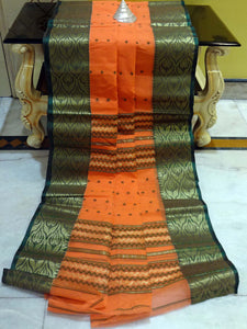Bengal Handloom Cotton Saree in Tangerine Orange and Dark Green