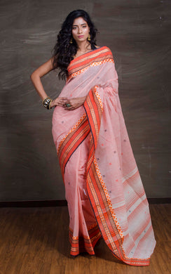 Bengal Handloom Cotton Saree in Apricot and Orange