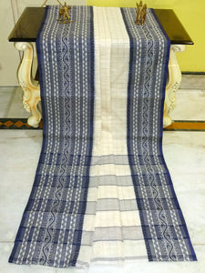 Checks Woven Bengal Handloom Cotton Saree in Dark Blue and Off White