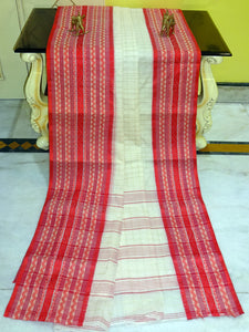 Checks Woven Bengal Handloom Cotton Saree in Red and Off White