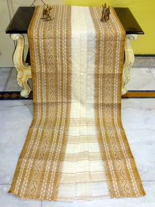Checks Woven Bengal Handloom Cotton Saree in Mustard Brown and Off White