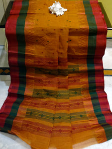 Bengal Handloom Cotton Saree in Ochre Yellow, Dark Green and Dark Red